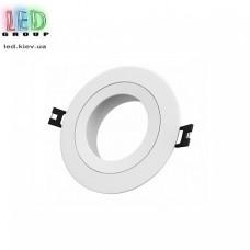 Светильник/корпус потолочный, 1хGU10, встраиваемый, точечный, пластиковый, круглый, белый, Ø90x20мм