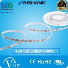 Светодиодная лента RISHANG, 12V, SMD 2835, 60 led/m, 6W, IP20, 4000K - белый нейтральный, VIP. Гарантия - 5 лет