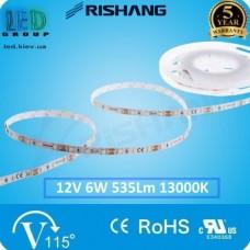 Светодиодная лента RISHANG, 12V, SMD 2835, 60 led/m, 6W, IP20, 13000K - белый холодный, VIP. Гарантия - 5 лет