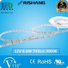 Светодиодная лента RISHANG, 12V, SMD 2835, 120 led/m, 8.6W, IP20 (IP33), 3000K - белый тёплый, VIP. Гарантия - 5 лет