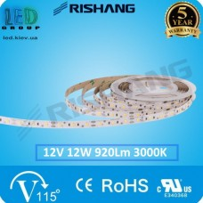 Светодиодная лента RISHANG, 12V, SMD 2835, 60 led/m, 12W, IP20 (IP33), 3000K - белый тёплый, VIP. Гарантия - 5 лет