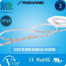 Светодиодная лента RISHANG, 12V, SMD 2835, 120 led/m, 8.6W, IP65, 6500K - белый холодный, VIP. Гарантия - 3 года