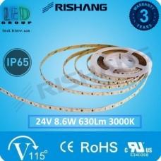 Светодиодная лента RISHANG, 24V, SMD 2835, 120 led/m, 8.6W, IP65, 3000K - белый тёплый, VIP. Гарантия - 3 года