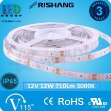Светодиодная лента RISHANG, 12V, SMD 2835, 60 led/m, 12W, IP65, 3000K - белый тёплый, VIP. Гарантия - 3 года