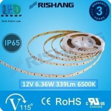 Светодиодная лента RISHANG, 12V, SMD 2835, 60 led/m, 6.36W, IP65, 6500K - белый холодный, VIP. Гарантия - 3 года