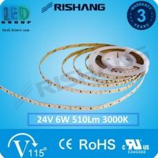 Светодиодная лента RISHANG, 24V, SMD 2835, 60 led/m, 6W, IP65, 3000K - белый тёплый, VIP. Гарантия - 3 года