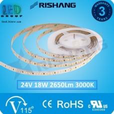 Светодиодная лента RISHANG, 24V, SMD 2835, 192 led/m, 18W, IP20, 3000K - белый тёплый, VIP. Гарантия - 3 года