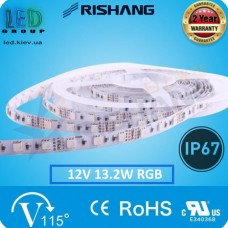 Светодиодная лента RISHANG, 12V, SMD 5050, 60 led/m, 13.2W, IP65, RGB (16 млн. оттенков), VIP. Гарантия - 2 года