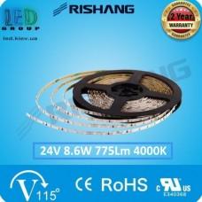 Светодиодная лента RISHANG, 24V, SMD 2014, 126 led/m, 8.6W, IP20, 4000K - белый нейтральный, ширина - 4мм, VIP. Гарантия - 2 года