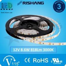 Светодиодная лента RISHANG, 12V, SMD 2835, 120 led/m, 8.6W, IP20, 3000K - белый тёплый, VIP. Гарантия - 3 года