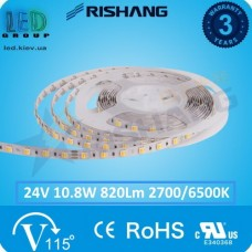 Светодиодная лента RISHANG, 24V, SMD 3528, 60 led/m, 10.8W, IP20, WW⇄CW (Белый 2700K⇄6500К), VIP. Гарантия - 3 года