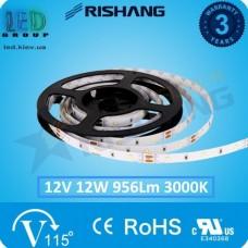 Светодиодная лента RISHANG, 12V, SMD 2835, 60 led/m, 12W, IP20, 3000K - белый тёплый, VIP. Гарантия - 3 года
