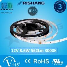 Светодиодная лента RISHANG, 12V, SMD 2835, 120 led/m, 8.6W, IP65, 3000K - белый тёплый, VIP. Гарантия - 3 года