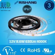 Светодиодная лента RISHANG, 12V, SMD 2835, 120 led/m, 8.6W, IP67, 4000K - белый нейтральный, VIP. Гарантия - 3 года