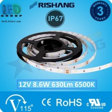 Светодиодная лента RISHANG, 12V, SMD 2835, 120 led/m, 8.6W, IP67, 6500K - белый холодный, VIP. Гарантия - 3 года