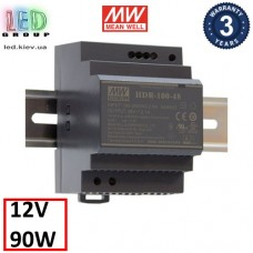 Блок питания 12V, 7.5A, 90W, Mean Well, HDR-100-12, пластиковый корпус, IP20, внутренний. На дин рейку. Гарантия - 3 года.