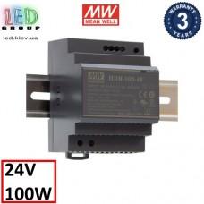 Блок питания 24V, 4.2A, 100.8W, Mean Well, HDR-100-24N, пластиковый корпус, IP20, внутренний. На дин рейку. Гарантия - 3 года.