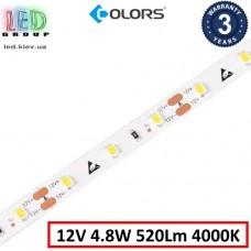 Светодиодная лента COLORS, 12V, SMD 2835, 60 led/m, 4.8W, IP20, 4000K - белый нейтральный, Premium. Гарантия - 3 года