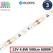 Светодиодная лента COLORS, 12V, SMD 2835, 60 led/m, 4.8W, IP20, 6000K - белый холодный, Premium. Гарантия - 3 года