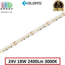 Светодиодная лента COLORS, 24V, SMD 2835, 160 led/m, 18W, IP20, 3000K - белый тёплый, Premium. Гарантия - 5 лет