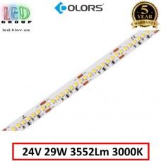 Светодиодная лента COLORS, 24V, SMD 2835, 192 led/m, 29W, IP20, 3000K - белый тёплый, Premium. Гарантия - 5 лет