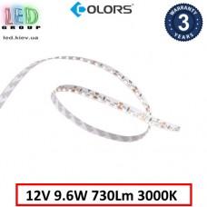 Светодиодная лента COLORS, 12V, SMD 3014, 120 led/m, 9.6W, IP20, 3000K - белый тёплый, боковое свечение, Premium. Гарантия - 3 года