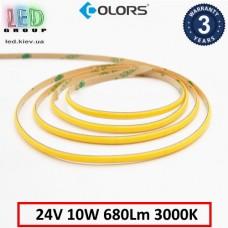 Светодиодная лента COLORS, 24V, COB (сплошное свечение), 10W, IP20, 3000K - белый тёплый, Premium. Гарантия - 3 года