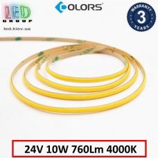 Светодиодная лента COLORS, 24V, COB (сплошное свечение), 10W, IP20, 4000K - белый нейтральный, Premium. Гарантия - 3 года