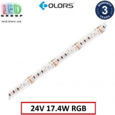 Светодиодная лента COLORS, 24V, SMD 5050, 168 led/m, 17.4W, IP20, RGB, Premium. Гарантия - 3 года