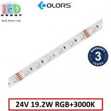 Светодиодная лента COLORS, 24V, SMD 5050, 60 led/m, 19.2W, IP20, RGB + 3000K, Premium. Гарантия - 3 года