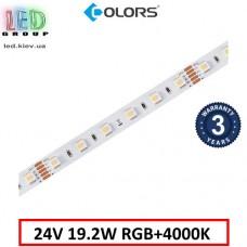 Светодиодная лента COLORS, 24V, SMD 5050, 60 led/m, 19.2W, IP20, RGB + 4000K, Premium. Гарантия - 3 года