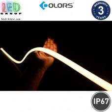 Светодиодный гибкий неон COLORS, 24V, LED NEON - 12x13мм, цвет свечения - белый тёплый. Гарантия - 3 года