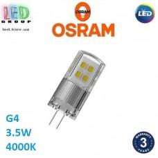 Светодиодная LED лампа OSRAM, 3.5W, 12V, G4, 4000К - нейтральное свечение. Гарантия - 3 года