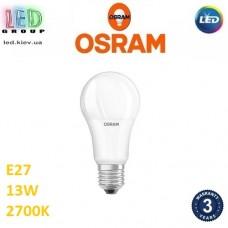 Светодиодная LED лампа OSRAM, 13W, E27, A100, 2700К - тёплое свечение. Гарантия - 3 года