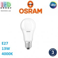 Светодиодная LED лампа OSRAM, 13W, E27, A100, 4000К - нейтральное свечение. Гарантия - 3 года