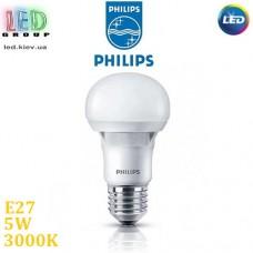 Светодиодная LED лампа Philips, 5W, E27, A60, 3000K - тёплое свечение, RА≥80, пластик, Essential