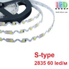 Светодиодная лента 12V, 2835, 60 led/m, S-type, 8.1W, IP20, 7000K - белый холодный, Standart. Гарантия-12 месяцев