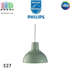 Светильник/корпус потолочный Philips, 1хE27, подвесной, круглый, металлический, зелёный, Massive Hearst