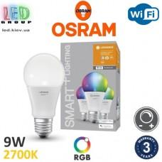 Светодиодная LED лампа Osram/LEDVANCE, 9W, E27, A60, RGB + 2700К, SMART, с управлением по Wi-Fi. Гарантия - 3 года