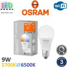 Светодиодная LED лампа Osram/LEDVANCE, 9W, E27, A60, 2700⇄6500K, SMART, с управлением по Wi-Fi. Гарантия - 3 года