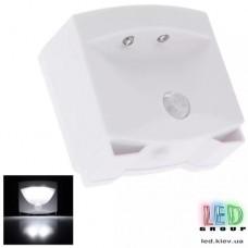 Светодиодный LED светильник, 3 LED, с датчиком движения, накладной, пластик, белый