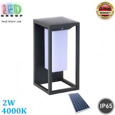 Светодиодный LED светильник 2W, 4000K, IP65, фасадный, на солнечной батарее, металл + пластик, чёрный, Ra≥80. Гарантия - 2 года