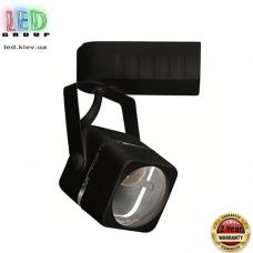 Светильник/корпус трековый, двухфазный, под лампу MR16, 1хGU10, металлический, квадратный, чёрный. Гарантия - 2 года
