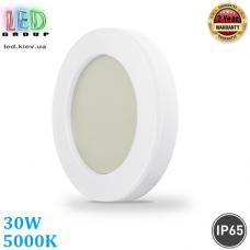Настенный светодиодный светильник 30W, 5000K, IP65, накладной, АВС + поликарбонат, круглый, серый, RA≥80. Гарантия - 2 года