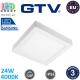 Светодиодный LED светильник GTV, 24W (EMC+), 4000K, IP54, накладной, квадратный, алюминиевый, белый, LED Samsung, LOUIS. ЕВРОПА! Гарантия - 3 года