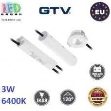 Аварийный светодиодный LED светильник GTV, 3W (EMC+), 6400K, 300Lm, врезной, аккумулятор - на 3 часа, пластик + алюминий, Ra≥80, OMAHA-3. ЕВРОПА! Гарантия - 2 года