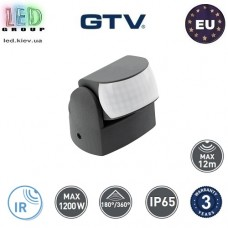 Датчик движения с регулировкой чувствительности сумерек GTV, 1200W, IP65, 180/360⁰, накладной, поворотный, пластиковый, чёрный, CR-9 mini. ЕВРОПА!!! Гарантия – 3 года