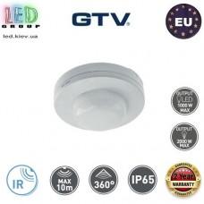 Датчик движения с регулировкой чувствительности сумерек GTV, 1000/2000W, IP65, 360⁰, накладной, пластиковый, круглый, белый, CO-2. ЕВРОПА!!! Гарантия – 2 года