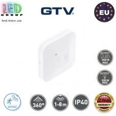 Датчик движения с регулировкой чувствительности сумерек GTV, 400/800W,  IP40, 360⁰, накладной, пластиковый, квадратный, белый, CM-6. ЕВРОПА!!! Гарантия – 2 года