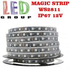 Светодиодная лента RGB управляемая WS2811,12V, чёрная плата, 5050, 60 led/m, 14.4W, IP67, Magic Strip. Гарантия - 12 месяцев